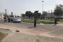 Trânsito interrompido na Praça do Colono neste sábado